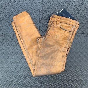 Current/Elliott | Gold Brushed Skinny Jeans